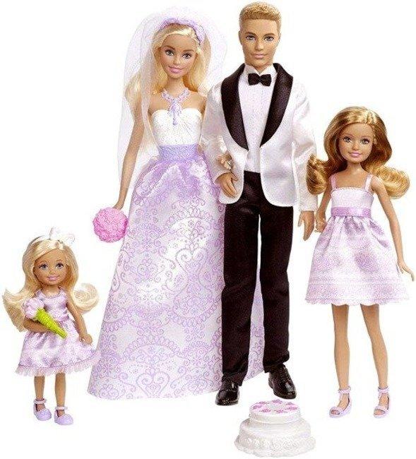Mattel Barbie Zestaw Lalka Ślubny Panna Młoda i Ken Pan Młody 4pak