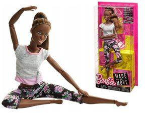 Mattel Barbie Lalka Made To Move Fitness Kwieciste Leginsy - Mulatka