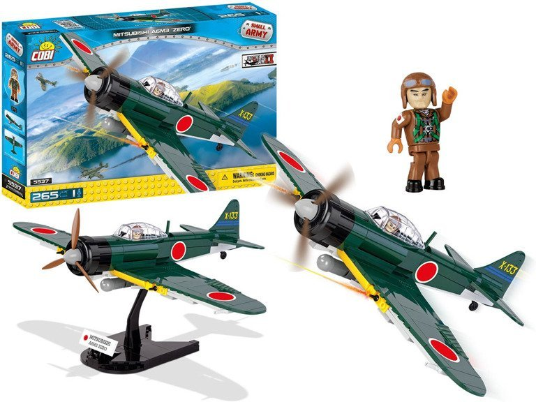 cobi klocki mała armia world war ii mitsubishi a6m3 zero - myśliwiec