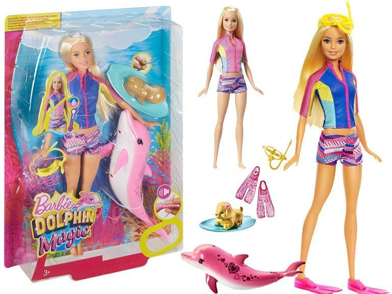 Mattel Barbie Delfiny Z Magicznej Wyspy Lalka Nurek Zmienia Kolor