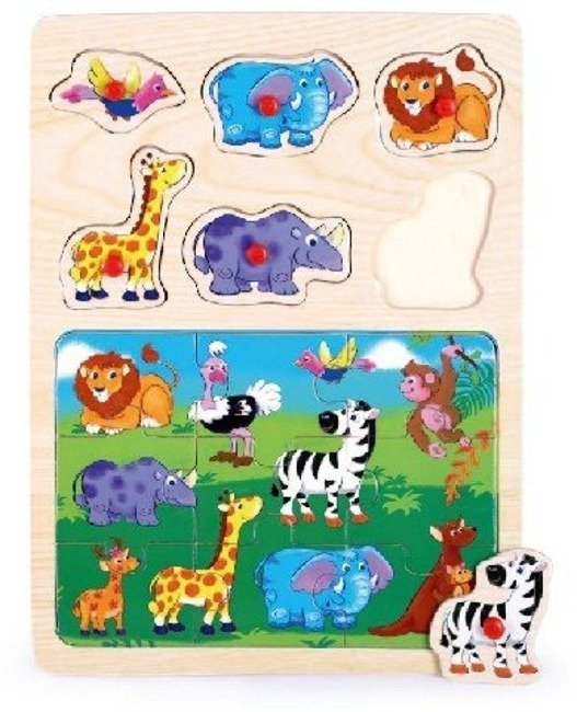 Top Bright Drewniane Puzzle z Pinezkami Safari + Zoo 2w1